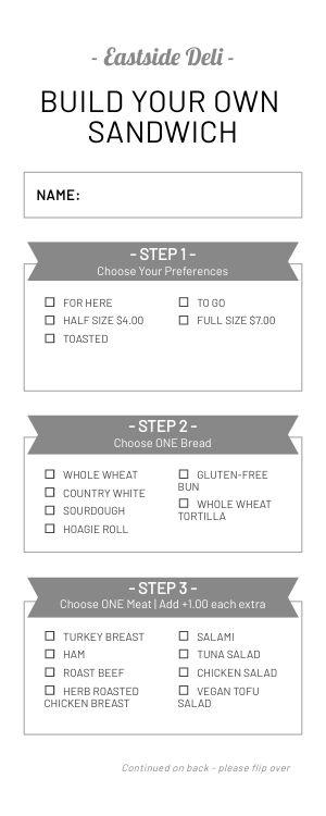 BYO Sandwich Deli Half Page Menu