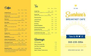 Sunshine Breakfast Takeout Menu