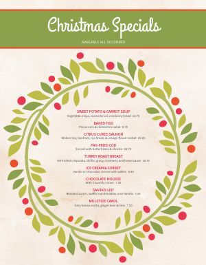 Christmas Wreath Menu