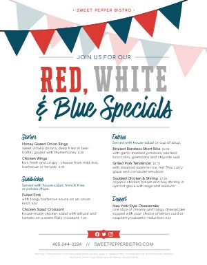 Fourth of July Specials Menu
