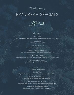 Hanukkah Pines Menu