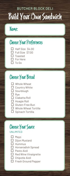 Build Your Own Deli Half Page Menu