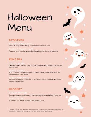 Ghost Halloween Menu