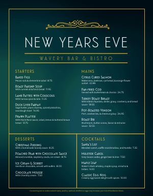 Elegant New Years Eve Menu