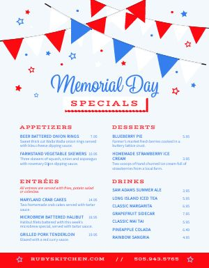 Memorial Day Holiday Menu