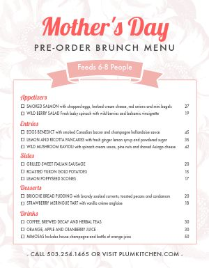 Moms Day Preorder Menu