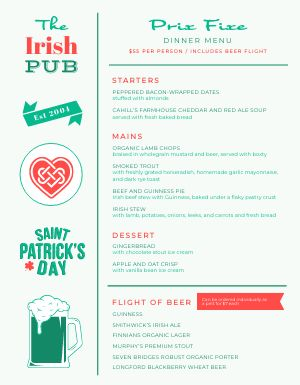 St Patricks Day Prix Fixe Menu