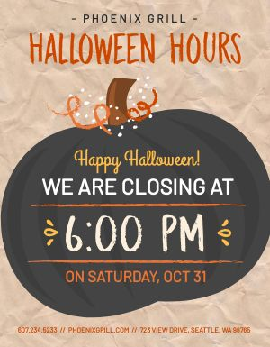 Halloween Hours Signage
