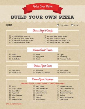 Build Pizza Ingredients Menu