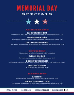 Blue Memorial Day Menu