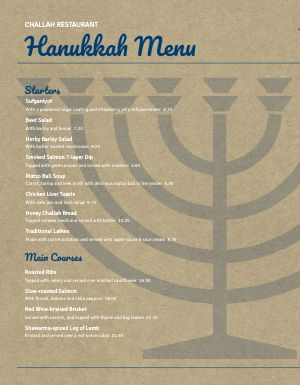 Hanukkah Temple Menu