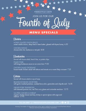 4th of July Menu