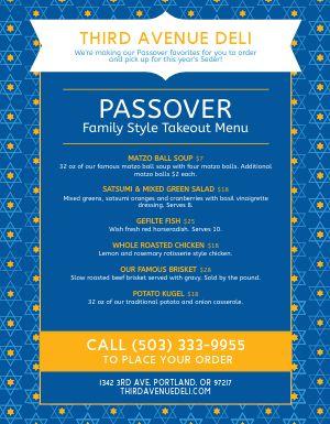 Passover Star Menu