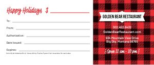 Restaurant Holiday Gift Certificate
