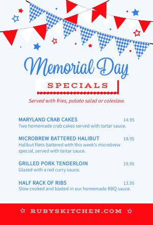 Memorial Day Table Card