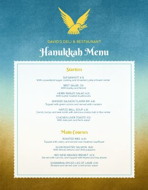 Hanukkah Dove Menu