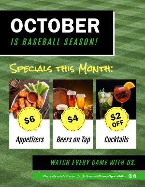 Baseball Restaurant Flyer