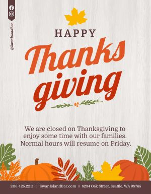 Thanksgiving Hours Announcement