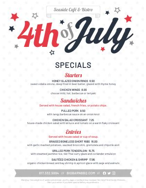 July 4th Specials Menu