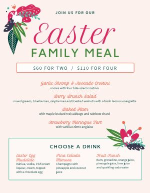 Easter Meal Menu