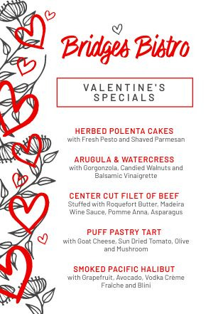 Valentines Specials Table Tent
