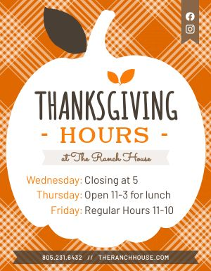 Thanksgiving Hours Signage