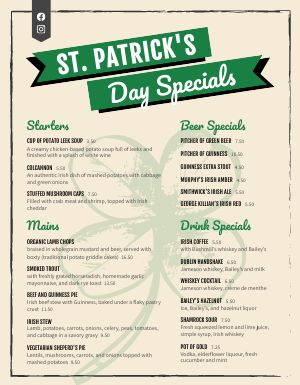St Patricks Day Specialty Menu