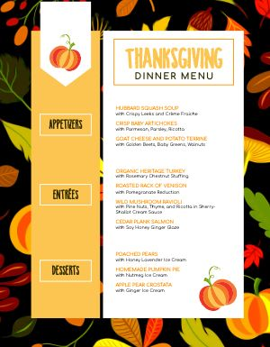 Pumpkin Thanksgiving Menu