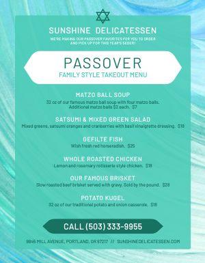 Passover Food Menu