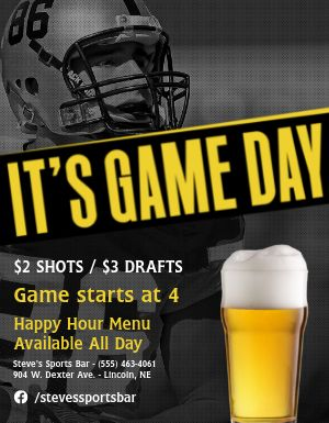 Game Day Happy Hour Flyer