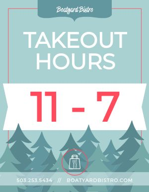 Winter Takeout Hours Flyer