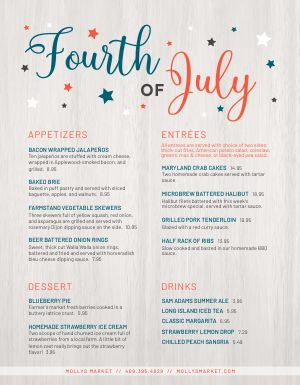 4th of July Holiday Menu