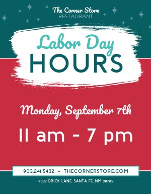 Labor Day Hours Sign