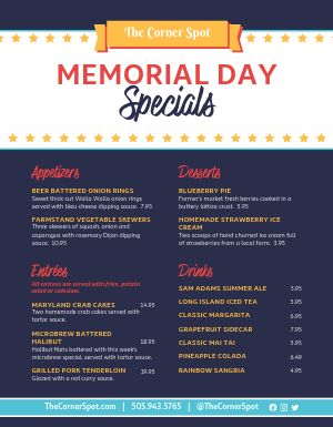 Memorial Day Cafe Menu