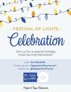 Hanukkah Festival of Lights Sign
