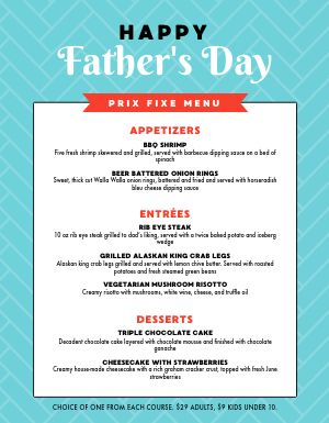 Blue Fathers Day Menu