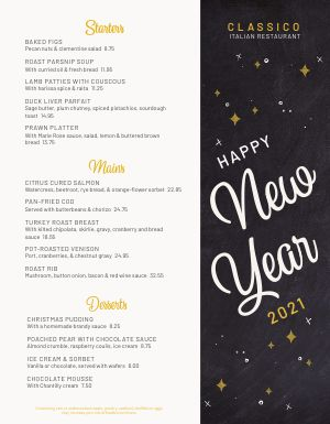 Happy New Years Eve Menu