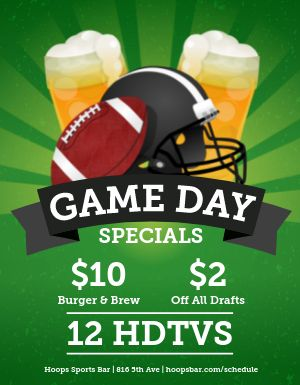 Game Day Specials Flyer