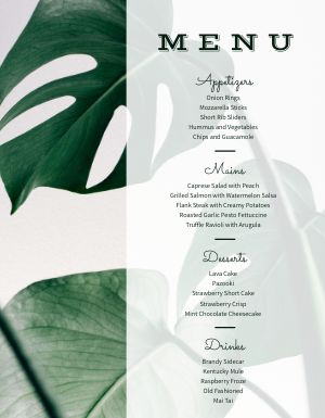 Elegant Event Menu
