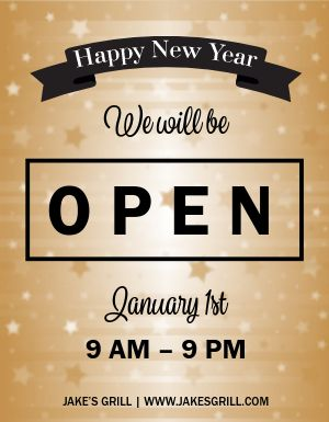 New Years Business Hours Flyer