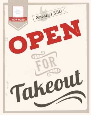 Takeout Open Sidewalk Sign