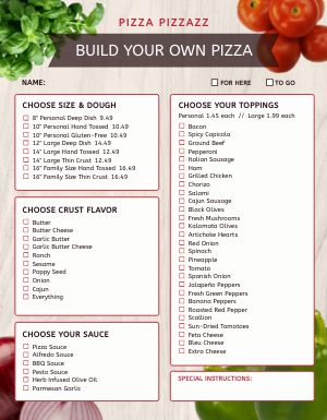 Build Pizza Menu
