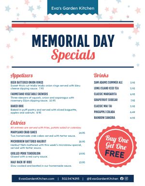 Example Memorial Day Menu