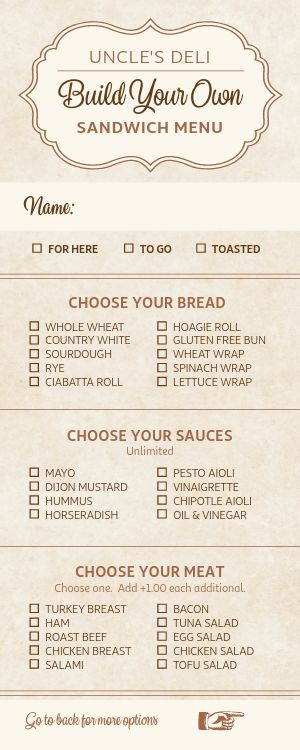 Elegant Sandwich Deli Half Page Menu