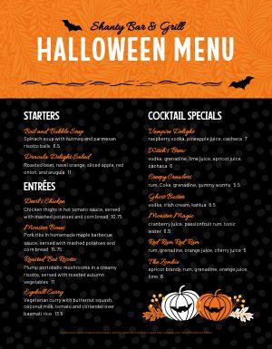 Halloween Food Menu