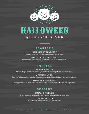 Customizable Halloween Menu