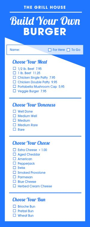 Build Burger Half Page Menu