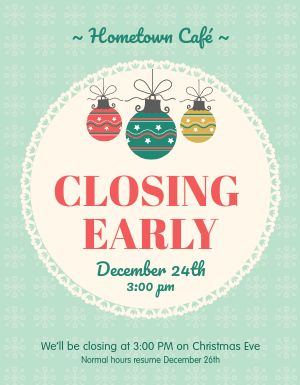Christmas Closing Early Flyer