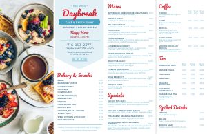 Breakfast Coffee Placemat Menu