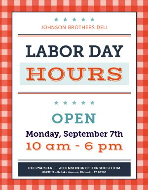 Labor Day Hours Announcement
